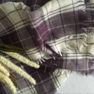 Esprit Accessories - ESPRIT | Cozy Purple and Cream Plaid Blanket Scarf